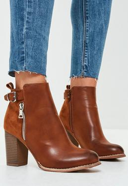 Brown Block Heeled Ankle Boots