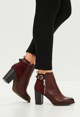 Burgundy Zip Detail Block Hell Ankle Boots