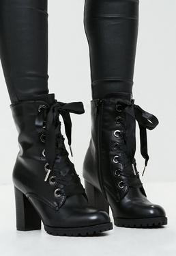 Black Ribbon Tie Heeled Ankle Boots