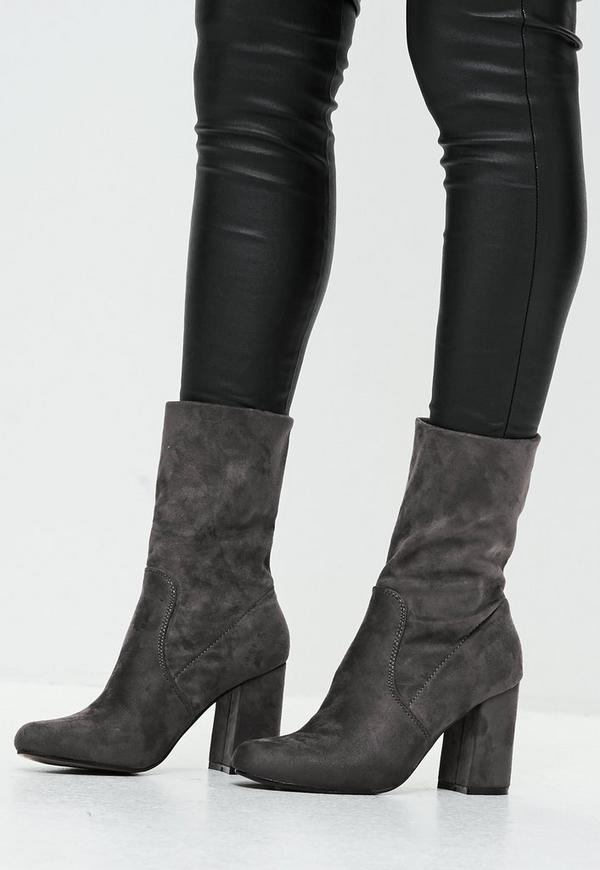 grey block heel faux suede ankle boots missguided