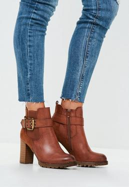 Tan Buckle Strap Ankle Boots