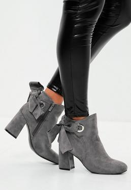 Grey Bow Tie Back Faux Suede Ankle Boots