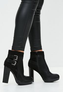 Black Double Backle Heeled Ankle Boots