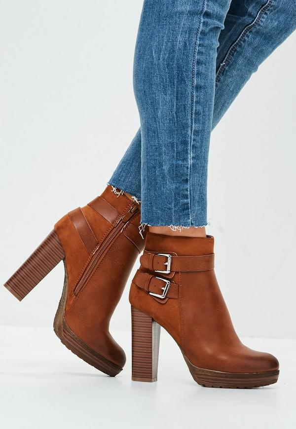 a321db7fb0fd6 Brown Double Buckle Heeled Ankle Boots
