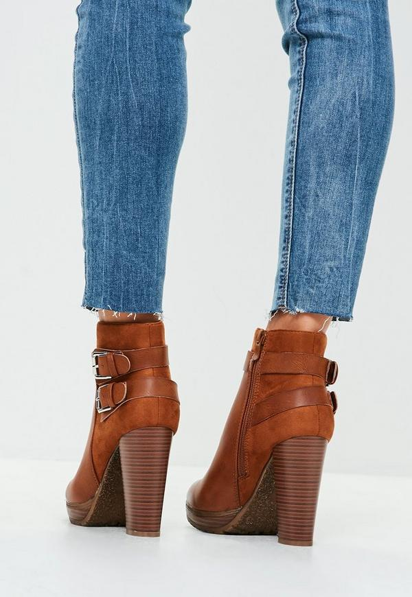 7311ffe72e221 Brown Double Buckle Heeled Ankle Boots. Previous Next