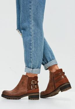 Brown Buckle Back Ankle Boots