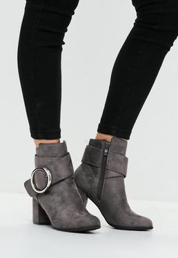 Grey Circle Buckle Ankle Boot