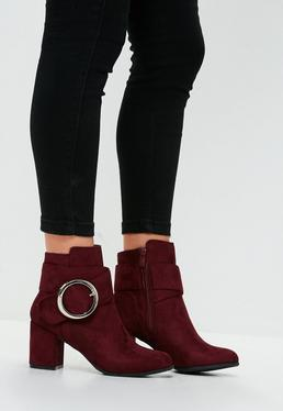 Red Circle Buckle Ankle Boots