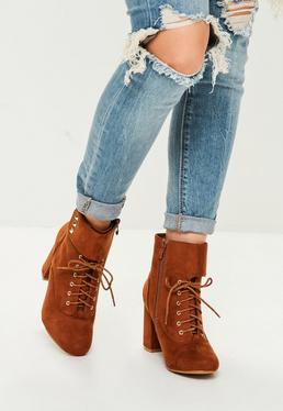 Brown Faux Suede Lace Up Ankle Boots