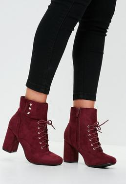 Burgundy Lace Up Button Strap Heeled Ankle Boots