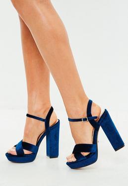 Blue Velvet Cross Front Heeled Sandals