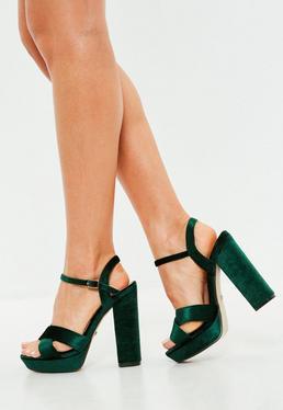 Green Velvet Cross Front Heeled Sandals