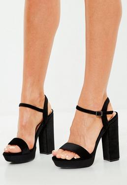 Black Velvet Platform Heeled Sandals