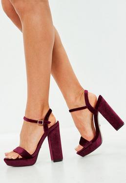 Wine Velvet Two Strap Platform Block Heels