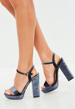 Grey Velvet Platform Heeled Sandals