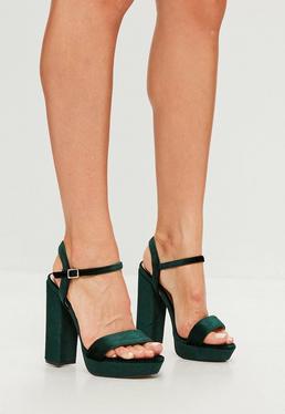 Green Velvet Two Strap Platform Block Heels