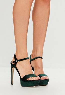 Green Velvet Two Strap Platform Sandals