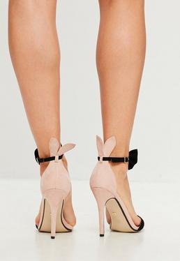 Nude Bow Strap Bunny Ear Barely There Heels