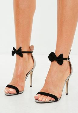 Grey Bow Strap Bunny Ears Heeled Sandals