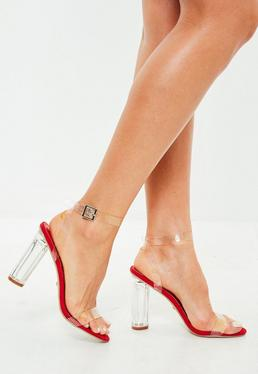 Red Clear Barely There Heeled Sandals