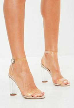 Beige Clear Barely There Heeled Sandals