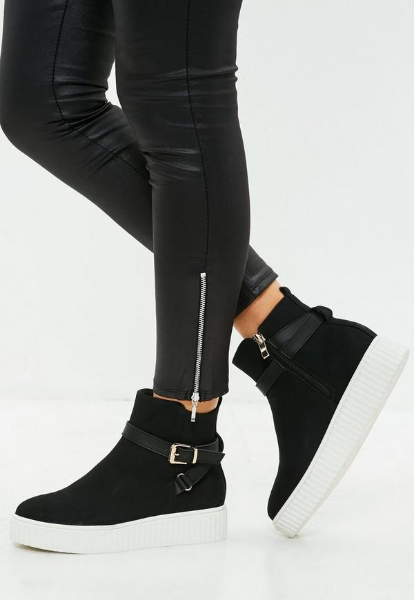 Black High Top Creeper Sole Trainer by Missguided