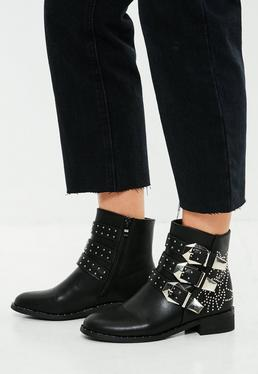 Black Multi Buckle Ankle Boots