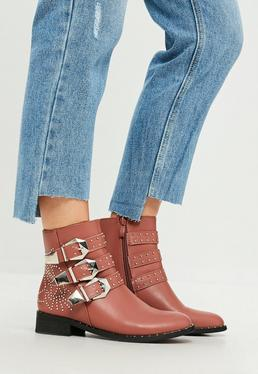 Pink Multi Buckle And Stud Ankle Boots