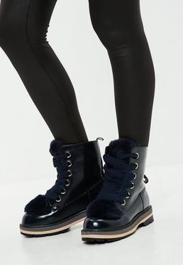 Navy Faux Fur Tongue High Shine Ankle Boots
