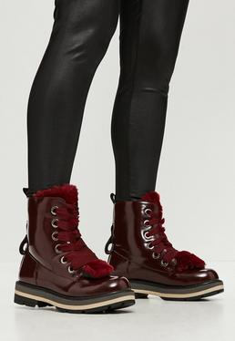 Red Tounge High Shine Ankle Boots