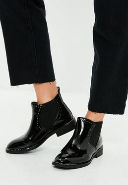 Black Patent Studded Chelsea Boots