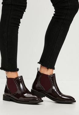 Burgundy Patent Studded Chelsea Boots