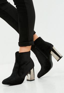 Black Velvet Metallic Heel Ankle Boots