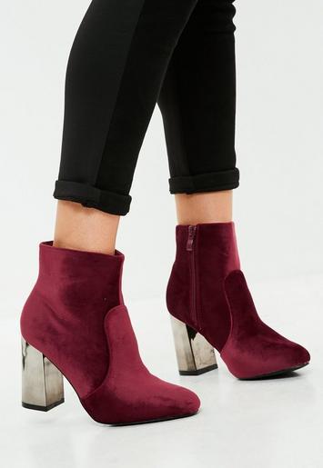 missguided - burgundy metal heel velvet ankle boots