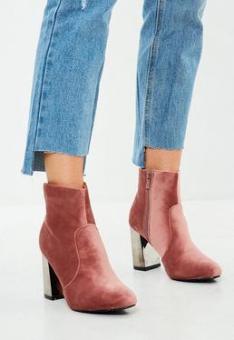 Pink Metal Heel Velvet Ankle Boots