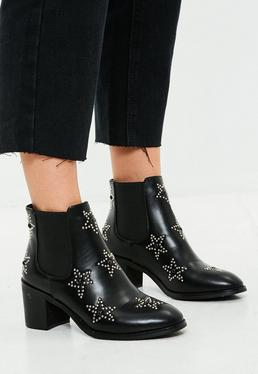 Black Star Stud Ankle Boots
