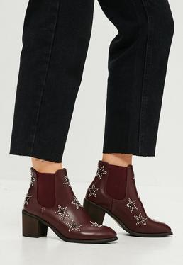 Burgundy Star Studded Low Heel Ankle Boots