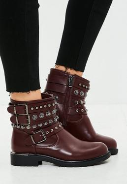 Burgundy Multi Strap Ankle Boots