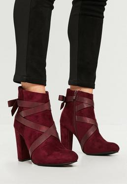 Burgundy Faux Suede Block Heel Ankle Boots
