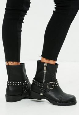 Black Studded Biker Ankle Boots