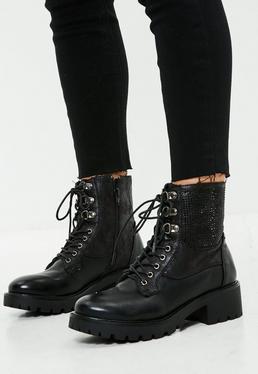 Black Lace Up Studded Biker Boots