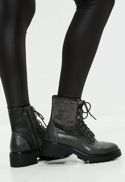 Grey Lace Up Studded Biker Boots