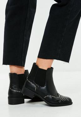Black Studded Side Chelsea Boots