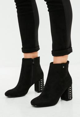 Black Studded Heeled Faux Suede Ankle Boots