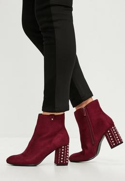Burgundy Studded Heeled Faux Suede Ankle Boots