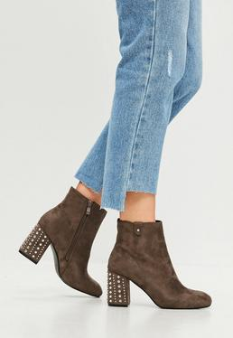 Brown Studded Faux Suede Heeled Boots