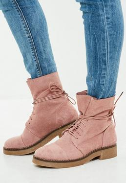 Pink Faux Suede Ankle Boots