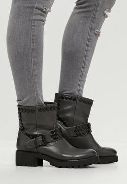 Grey Buckle Detail Ankle Biker Boots