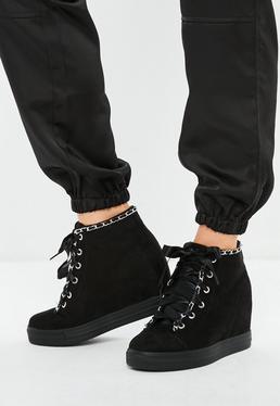 Black Chain Trim Wedge Sneaker