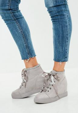 Grey Chain Wedge Trainer Boots